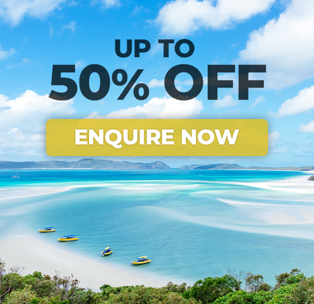 up to 50% off on booking